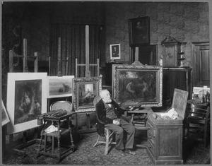 Jozef Israëls in zijn atelier, Koninginnegracht 2, 's Gravenhage