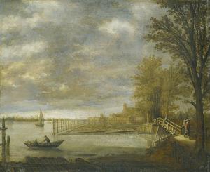 Gezicht op Dordrecht vanuit het Zuiden, op de voorgrond de Houttuynen