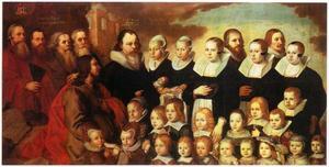 Het gezin van Ole Worm (1588-1654) met Christus en vier evangelisten