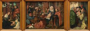 De geboorte (binnenzijde links), de aanbidding van de Wijzen (midden), de besnijdenis (binnenzijde rechts)