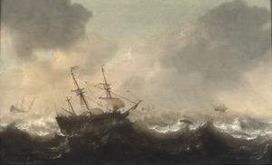 Schepen op ruwe zee met rechts een spuwende walvis