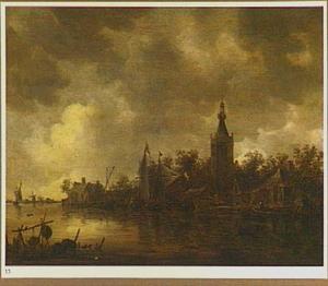 Rivierlandschap met de toren van de kerk van Overschie