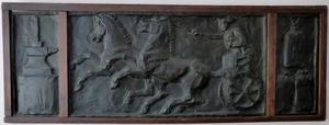 Mercurius op zijn wagen (allegorie op de handel), geflankeerd door de elementen van de nijverheid (aambeeld met hamer) en de landbouw (zakken graan)