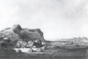 Landschap met konijnen
