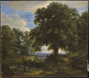 Boslandschap met een biddende man bij een crucifix aan een boom