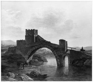 Italianiserend rivierlandschap met een brug
