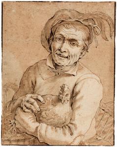 Man met kip en mand