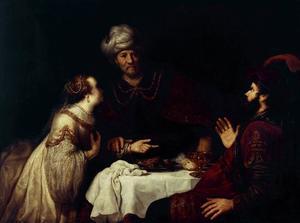 Ester beschuldigt Haman voor Ahasveros (Ester 7:6)
