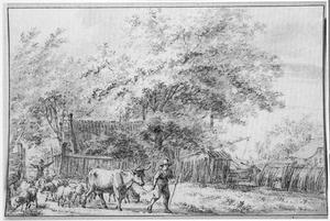 Herder met vee verlaat een boerderij