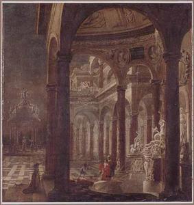 Terras voor een paleis met de badende Batseba door David bespied (2 Samuel 11:2)