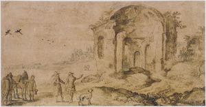 Reizigers bekijken klassieke ruïnes te Pozzuoli