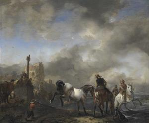 Paardenwed bij een grenspaal