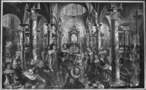 Het wonder van de hostie die in vlees verandert in de mond van Jan van Keulen, in tegenwoordigheid van leden van de broederschap van het Sacrament van Mirakel