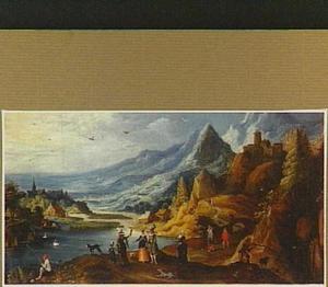 Berglandschap met elegante figuren en een jager op de voorgrond