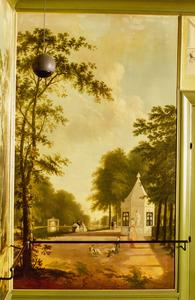 Parkachtig landschap met wandelaars bij een theekoepel
