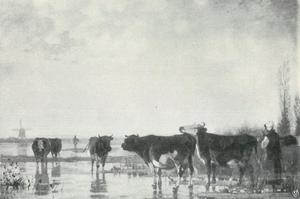 Nederlands rivierlandschap met koeien in een ondergelopen weiland