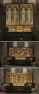 Hoofdaltaar met Scènes uit de passie (gebeeldhouwde binnenzijden eerste paar luiken en middendeel); De annunciatie, de geboorte van Jezus, de aanbidding van de Koningen en de kroning van Maria in de hemel (geschilderde binnenzijden tweede paar luiken en buitenzijden eerste paar luiken); de HH. Petrus, Martinus, Carolus Borromeus en Paulus (geschilderde buitenzijden tweede paar luiken); Matteus, Marcus, Christus Pantocrator, Lucas en Johannes (predella)
