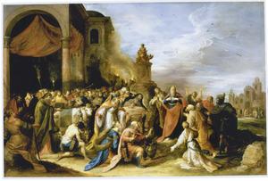 Paulus scheurt zijn klederen te Lystra om het offer aan Jupiter te voorkomen (Handelingen 15:13)
