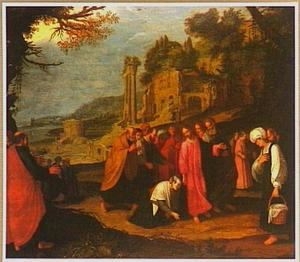 Christus geneest de bloedvloeiende vrouw (Matteus 9:22)