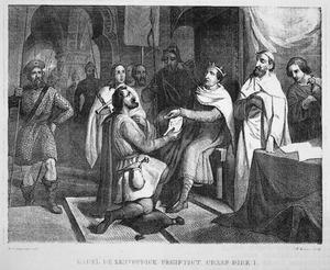 Karel den Eenvoudige begiftigt graaf Dirk I