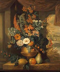 DECEMBER-Bloemstilleven in een vaas en vruchten op een marmeren balustrade, in een interieur; geheel rechts een open venster met een doorkijkje op een landschap met dorp