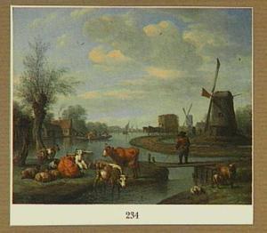 Rivierlandschap met vee en molens
