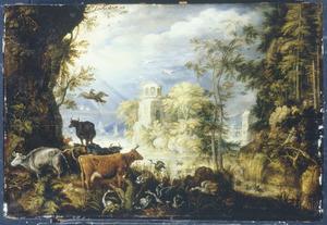 Boslandschap met vee, vogels en eendenjagers