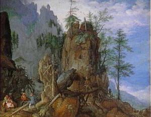 Berglandschap met houthakkers