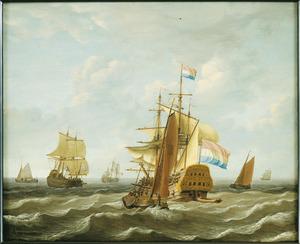 Hollandse driemaster en overige zeilschepen op zee