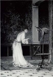 Dame voert papegaai