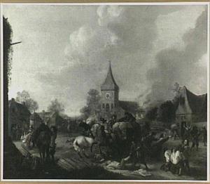 Plunderende soldaten in een dorp