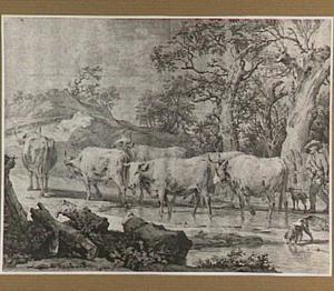 Landschap met veedrijver en kudde stieren