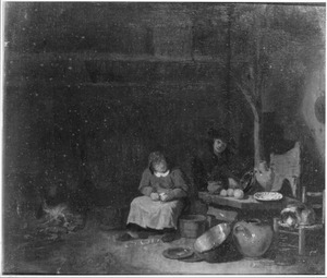 Boeren interieur met een man en een schillende vrouw