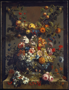 Vruchtenfestoen en bloemstuk