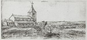 Landschap met kerk, mogelijke de kerk in Distelrath bij Düren