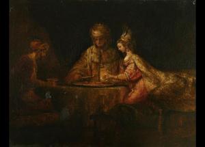 De tweede maaltijd van Ahasverus en Haman bij Ester (Ester 7:1-7)