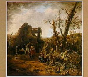 Rustende reizigers bij een ruïne