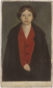 Portret van een vrouw in rode blouse (Ditte Lebeau)