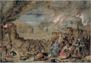 Nebuzardanes overlaadt Jeremia  na de val van Jeruzalem met geschenken (Flavius Josephus X.9.1626)