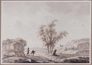 Landschap met op de achtergrond het dorp Tilburg