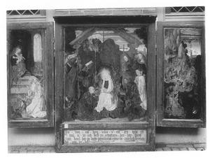 Drieluik met het visioen van de H. Bernardus (links), de aanbidding van de Wijzen met Thomas Snoeel en zijn patroonheilige (midden), de H. Hieronymus in de wildernis (rechts)