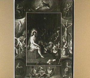 De bespotting van Christus, geflankeerd door scènes uit de Passie en de vier evangelisten