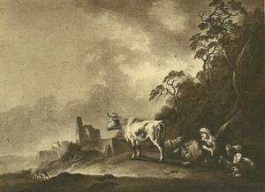 Berglandschap met herderin en vee