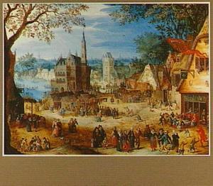 Sebastiaanskermis in een dorp met het stadhuis van Oudenaarde