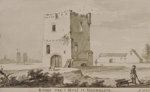 Ruïne van kasteel Heukelum vanuit het noordoosten, met rechts een overblijfsel van de voorburcht