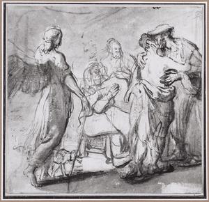 Tobias neemt afsched van Raguël en Edna, de ouders van zijn bruid Sara