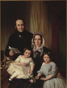Portret van de familie Petrus Jacobus Kipp (1808-1864) en Anna Petronella Regina Heijligers (1811-1874)