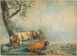 Landschap met drie koien en een schaap