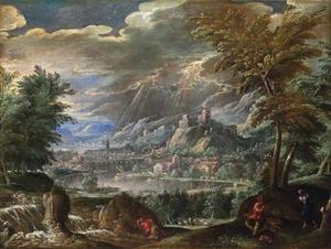 Weids berglandschap met gezicht op een zuidelijke stad (Verona?)