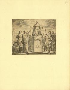 Vrouwen met palmtakken, mannen met glas en een zittende vrouw op een piëdestal